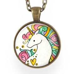 rainbow unicorn pendant