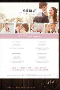 Wedding photographer marketing brochure / welcome guide template  / Price List Guide / Photography PSD customized logo