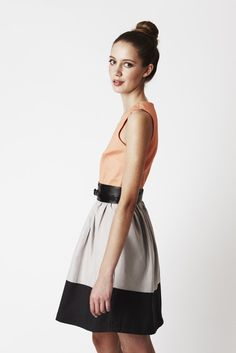 Eve Dress - Dusty Orange Silk Bodice with two-tone skirt, above-knee on Etsy, $160.00