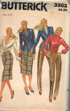Butterick Sewing Pattern 3302 - Misses Jacket, pants and Skirt  Size 20