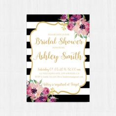 Printable bridal shower invitation Black Stripes by instanttrends