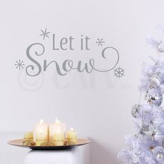 Let it snow with snowflakes vinyl lettering wall decal (Style A:12.5'H x 27'L, Metallic Silver) *** New and awesome product awaits you, Read it now  : home diy wall