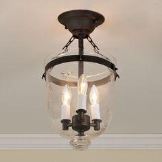 Mini Smokebell Semi-Flush Ceiling Lantern blackened_bronze_with_star_gla