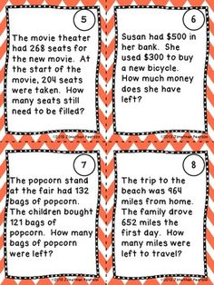 SUBTRACTION STORY PROBLEMS - 20 TASK CARDS FOR MATH CENTERS - A fun way to have your students practice solving 3- and 4-digit subtraction story problems.  Perfect for Scoot! or scavenger hunts!