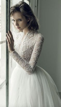 Unique Pearl Studded Netted Bodice Tulle Skirt Wedding Dress