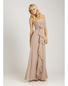A-line Strapless Ruched Ruffle Floor Length Nude Bridesmaid Dress - PERSUN