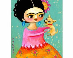 Frida Kahlo Chihuahua puppy folk art PRINT of an original painting by tascha 5x7