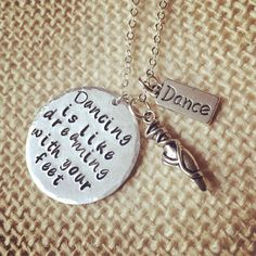 A personal favorite from my Etsy shop https://www.etsy.com/listing/486021468/dance-jewelry-dancer-necklace-quote