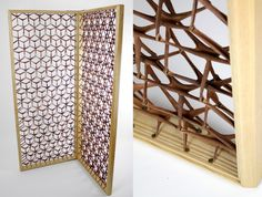 wooden frame with 856 pieces of leather shaped Y connect by rivets ...