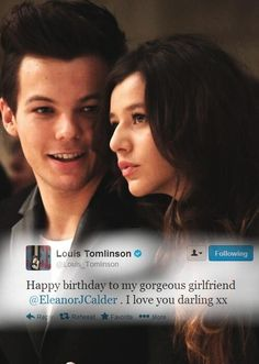 Im so damn tired of this drama. They LOVE eachother and that's all that matters! So you guys suck it up because Louis Loves Eleanor and If you're hating on her you're hating a part of Louis' life.❤️ Bertasson Tomlinson and Smith calder One Direction Girlfriends, I Love One Direction, This Is Love, Love Him, Troy Austin, Louis And Eleanor, Cutest Couple Ever, Eleanor Calder, All That Matters