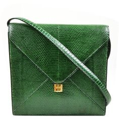 Vintage Rare Hermes Green Lizard Leather Marigny Envelope Clutch... ($3,335) ❤ liked on Polyvore featuring bags, handbags, shoulder bags, hermes shoulder bag, envelope clutch, leather purses, leather envelope clutch and vintage purses