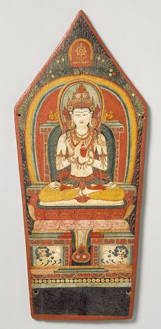 The pentagonal panel was the central leaf in a tirual crown worn ceremonially by a lama. The Tathagata (Transcendent Buddha) Vairochana, the Resplendent One, presides over the five Tathagatas, one of the most important group of deities of Esoteric Buddhism