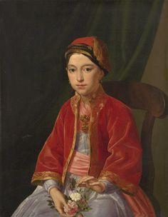 Young woman in beautiful red Libade (Pharyah)
