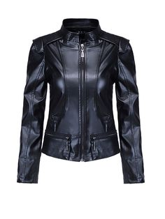Band Collar Zips Plain Faux Leather Biker Jacket Only $30.95 USD More info...