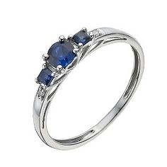 A sleek 9ct white gold ring set with three lustrous created sapphires, framed either side with a single glittering cubic zirconia. An oval created sapphire takes the centre, framed either side with square cut for a fresh, contemporary finish.