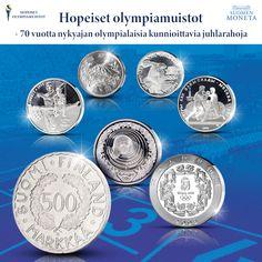 Tiesitkö, että Suomi aloitti olympialaisia kunnioittavien juhlarahojen perinteen? Historiallinen hopearaha lyötiin Helsingin kesäolympialaisia varten 70 vuotta sitten (osa rahoista lyötiin jo vuoden 1951 puolella). Merkkivuoden kunniaksi tarjoamme mahdollisuuden tutustua olympialaisia kunnioittavien juhlarahojen keräilyyn uuden Hopeiset olympiamuistot -kokoelman myötä. Se sisältää 10 hopearahaa 1950-luvulta 2010-luvulle asti. Aloita keräily sillä aivan ensimmäisellä, Helsinki 1952 -rahalla! Helsinki, Monet, Personalized Items