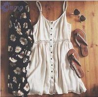 Das mulheres do vintage strapless vestido 2015 novo verão de manga casual oco out mini vestidos de praia