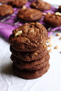 Double Chocolate Peanut Butter Cookies - The perfect mash up of chocolate and peanut butter encased within a puffy and soft cookie that's a little bit crunchy on the outside.