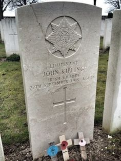 Lieut. John 'My Boy Jack' Kipling, son of the eminent poet and author Rudyard Kipling, is buried in St. Mary's A.D.S. Cemetery, Haisnes; grave ref: VII D.2. Reported missing after the Battle of Loos on 27.9.1915. In 1992, the CWGC announced that the grave of an unknown Irish Guards Lieut in the cemetery was that of John Kipling although the decision has been disputed.
