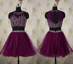 Elegant Two Pieces Homecoming Dresses,Purple Homecoming Dresses,Sexy Homecoming Dresses,Beaded Formal Dresses,Short Two Pieces Party Dresses,Tulle Graduation Dresses,Sparkle Dresses