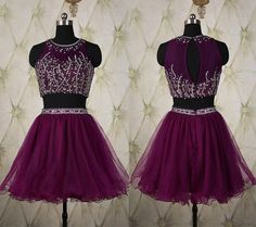 Elegant Two Pieces Homecoming Dresses,Purple Homecoming Dresses,Sexy Homecoming