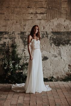 The Daisy top and the Dusk skirt / Nora Sarman Bridal / photo Pinewood Weddings Bridal Lace, Bridal Gowns, Wedding Dresses, Bridal Collection, Golden Age, Dusk, Silhouettes, Weddings, Skirts