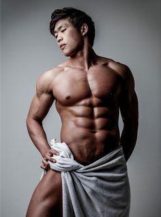 Asian boy in towel