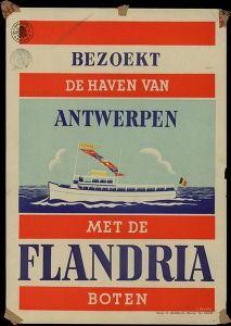 """Antwerpen, """"bezoekt de haven van Antwerpenmet de Flandria boten"""", affiche"""