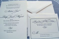 Classic Invites: Letterpress Wedding Invitation Traditional by SmallPrinter