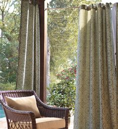 Add comfort and style to your outdoor spaces with these Olefin Outdoor Grommet-Top Curtain Panel. Create a shady spot on your porch or deck and make your house the coolest in the neighborhood. Outdoor Drapes, Outdoor Shade, Patio Shade, Outdoor Curtains, Outdoor Rooms, Outdoor Living, Patio Balcony Ideas, Backyard Patio, Backyard Ideas