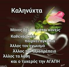 Σ ΑΓΑΠΑΩ ΜΩΡΟ ΜΟΥ ΚΑΛΟ ΒΡΑΔΥ.Α. Good Night, Good Morning, Greek Quotes, Spirituality, Humor, Sayings, Life, Amsterdam, Google