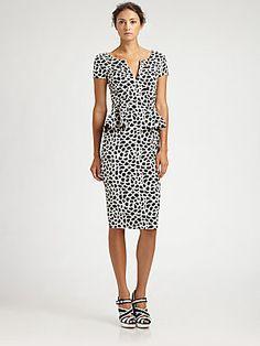 Oscar de la Renta Camellia Print Black & White Peplum Dress