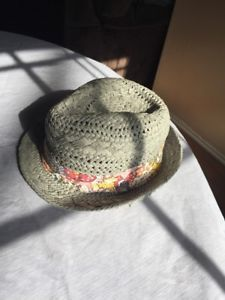 Womens D Y Straw Summer Fedora Hat With Floral Fabric Band-Short Brim  97e42185036