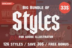 Big Bundle of Illustrator Styles by Guerillacraft on Creative Market