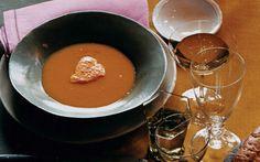 Pumpkin Soup with Red Pepper Mousse: 2000s Recipes + Menus : gourmet.com