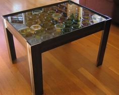 coffee table made from wine bottles