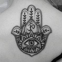 Make a powerful fashion statement with these quirky hamsa tattoos Look through our incredible collection of tattoo designs here for more inspiring ideas - Yoga Tattoos, Body Art Tattoos, New Tattoos, Hand Tattoos, Sleeve Tattoos, Tattoos Om, Tattos, Ohm Tattoo, Om Symbol Tattoo