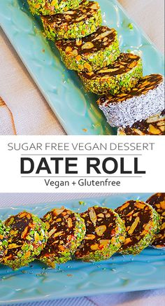 The date and nuts roll is a sugar-free vegan dessert. Its a no-bake dessert rec The date and nuts roll is a sugar-free vegan dessert. Its a no-bake dessert recipe and it is so quick and easy to make. Source by getsetvegan Sugar Free Vegan Desserts, Delicious Vegan Recipes, Healthy Dessert Recipes, Raw Food Recipes, Sweet Recipes, Halal Recipes, Date Recipes Healthy, Healthy Vegan Snacks, Vegan Food