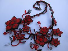 Jewellery Necklace Polymer clay Handmade Flowers by Gallysart