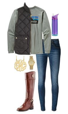 """Patagonia and Vest"" by southernprep52 ❤ liked on Polyvore featuring Victoria, Victoria Beckham, Patagonia, J.Crew, CamelBak, Tory Burch and Michael Kors"