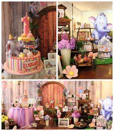 Winnie the Pooh's Heffalump themed 1st birthday party with Lots of Really Cute Ideas via Kara's Party Ideas KarasPartyIdeas.com #heffalumps ...