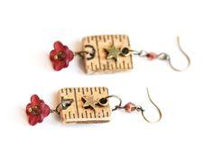 Star and Flower Earrings, Industrial Jewelry, Rustic Earrings, Antique Ruler