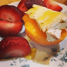 Farm fresh strawberries and apricot with Camembert topped with honey drizzle.