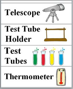 Science Tools Word Wall Cards with Illustrations