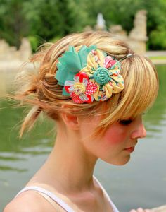Flower Cluster Headband -Yellow, Coral and Mint Green. $30.00
