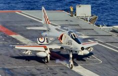 A Royal Australian Navy Douglas A-4G Skyhawk lands on the Australian aircraft carrier HMAS Melbourne (R21) in 1980. This Skyhawk was originally delivered to the U.S. Navy as A-4F BuNo 155063. It served in Vietnam on the USS Ranger (CVA-61) with attack squadron VA-155 Silver Foxes from 26 October 1968 to 17 May 1969 (Attack Carrier Air Wing Two (CVW-2)/NE-416), and on the USS Hancock (CVA-19) with VA-212 Rampant Raiders from 02 August 1969 to 15 April 1970 (CVW-21/NP-4XX). 155063 was then…