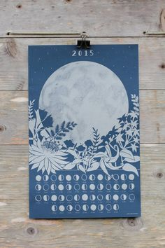Lunar Calendar Poster - Moon Phases and Night Blooming Flowers - 2015 - Metallic Silver Ink on Dark Blue Linen Cover Stock