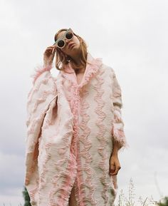 Chevron pink woven coat