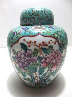 Vintage Chinese Porcelain GINGER JAR Turquoise PINK LOTUS Flowers Chrysanthemums