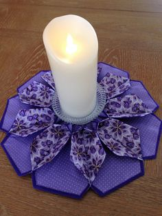 The Blossom Table Topper Candle Mat Purple by Sewandplay on Etsy